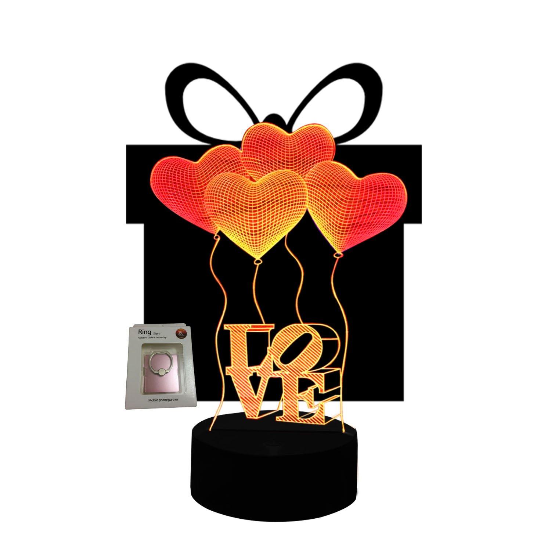 ギフトアイデアナイトライト3dイリュージョンランプ動物ライトLEDデスクランプユニークなギフト赤ちゃんホーム装飾オフィス寝室ウェディングパーティーデコレーション子供部屋照明7色 LLAM03 B075J3MJGJ 14711 Love Balloon Love Balloon