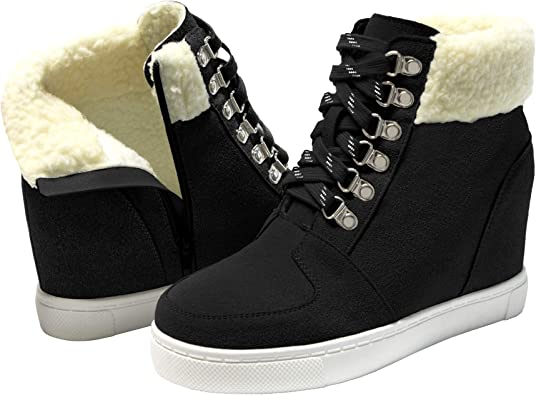 softome Fur Lined Wedge Sneakers
