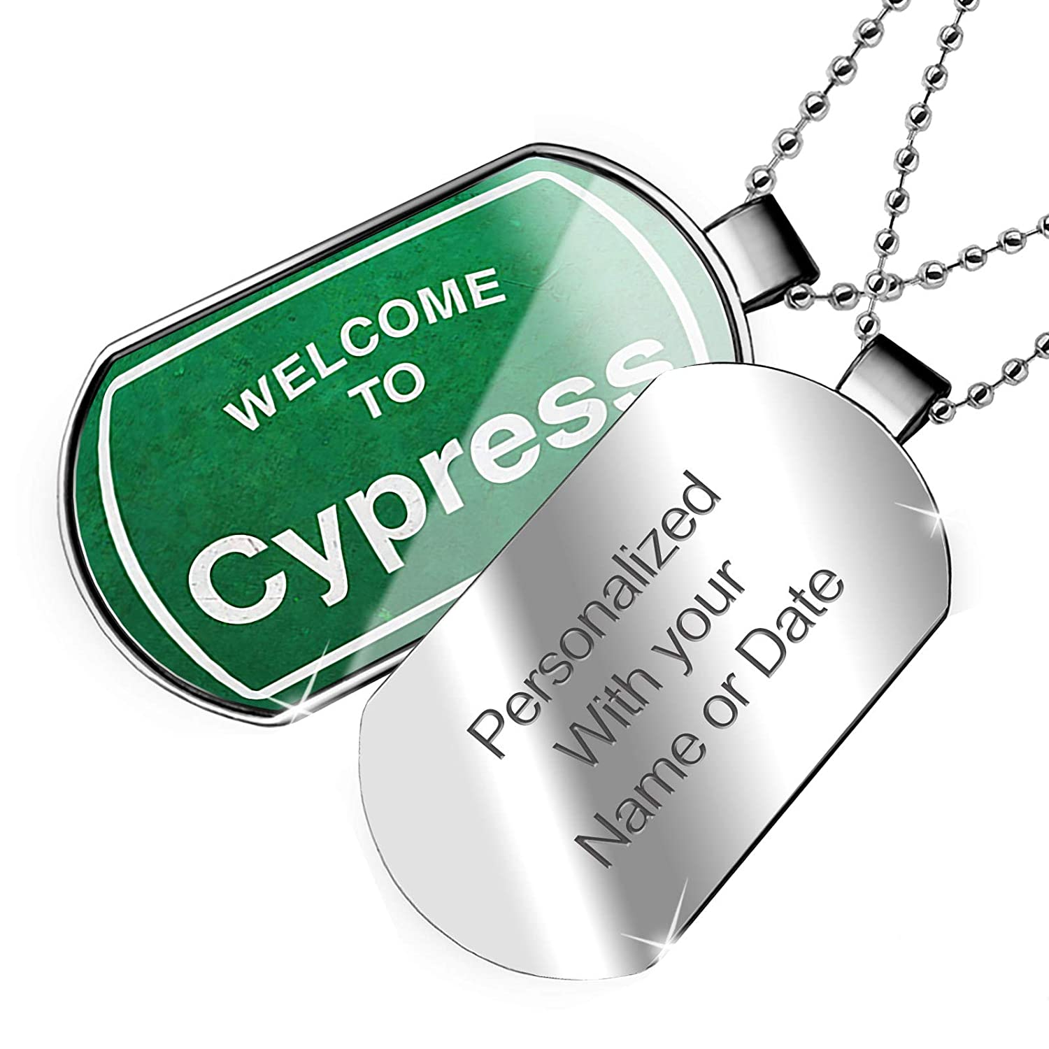 NEONBLOND Personalized Name Engraved Green Road Sign Welcome to Cypress Dogtag Necklace