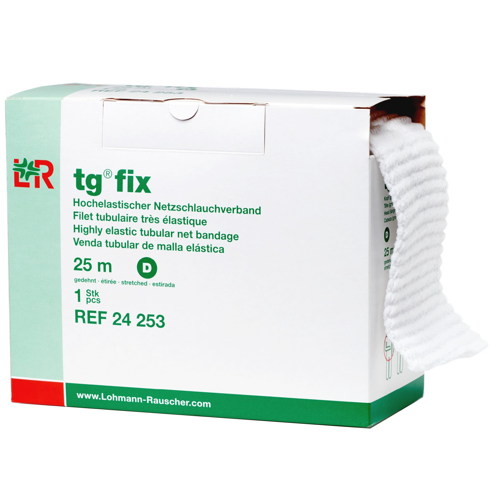 tg Fix Net Tubular Bandage, Elastic Net Wound Dressing, Bandage Retainer for the Head & Trunk, Size D (105.0 cm When Stretched x 2.5 m)