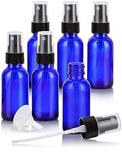 1 oz / 30 ml Cobalt Blue Glass Boston Round Bottle with Black Fine Mist Spray (6 Pack) + Funnel