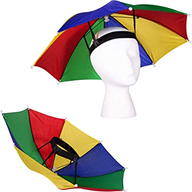 Beach Women One Size Fits All Hiking Rainbow Colored Hands Free Umbrella Hat for Sun Rain Umbrella Hat Sun Protector for Adults Kids Fishing Men Fun Novelty Gift Golfing
