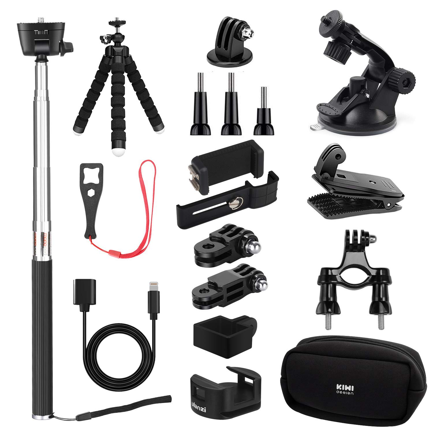 KIWI design Accessories for DJI Osmo Pocket | Expansion Kit Accessory Bundle with Mounts Strap Clip Phone Bracket Holder WiFi Tripod Adapter Selfie Stick Tripod for DJI Osmo Pocket