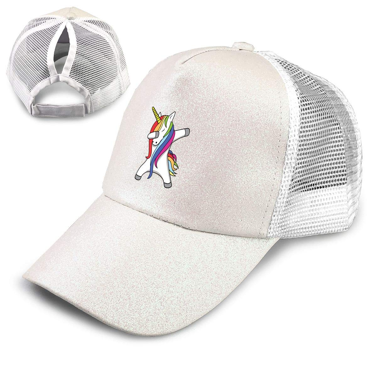 Dabbing Unicorn Ponytail Messy High Bun Hat Ponycaps Baseball Cap Adjustable Trucker Cap Mesh Cap