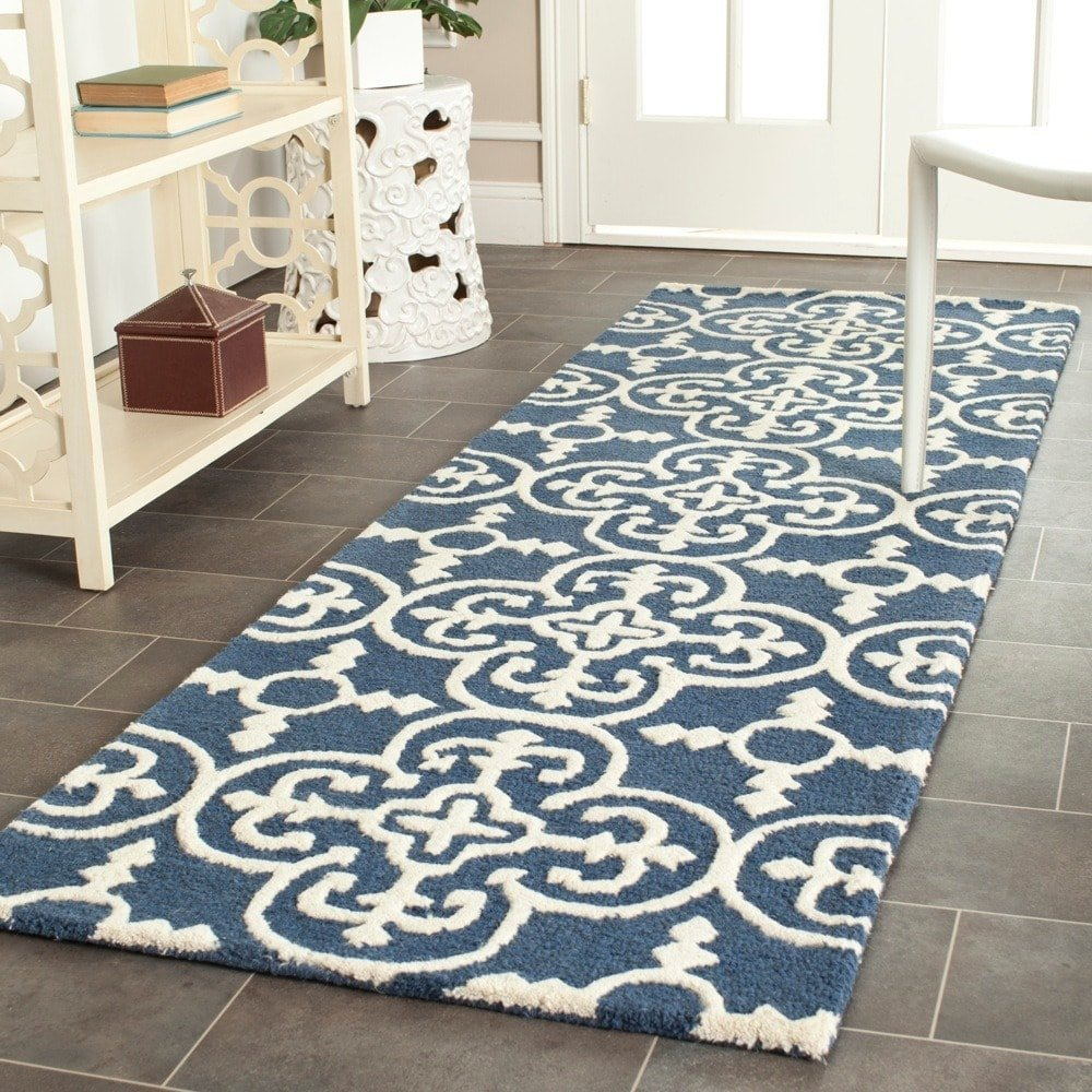 2'6 x 6' Blue Ivory Geometric Runner Rug Rectangle, Navy Moroccan Pattern Hallway Carpet French Country Carpeting Lattice Medallion Theme Entryway for Living Area Kitchen Entrance Way, Polypropylene
