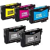 LxTek 220 220XL 220 XL-A Compatible Ink Cartridges for Epson 220 220XL 220 XL-A for Use with Epson wf-2760, wf-2750, wf-2630, wf-2650, xp-420, xp-424 Printer