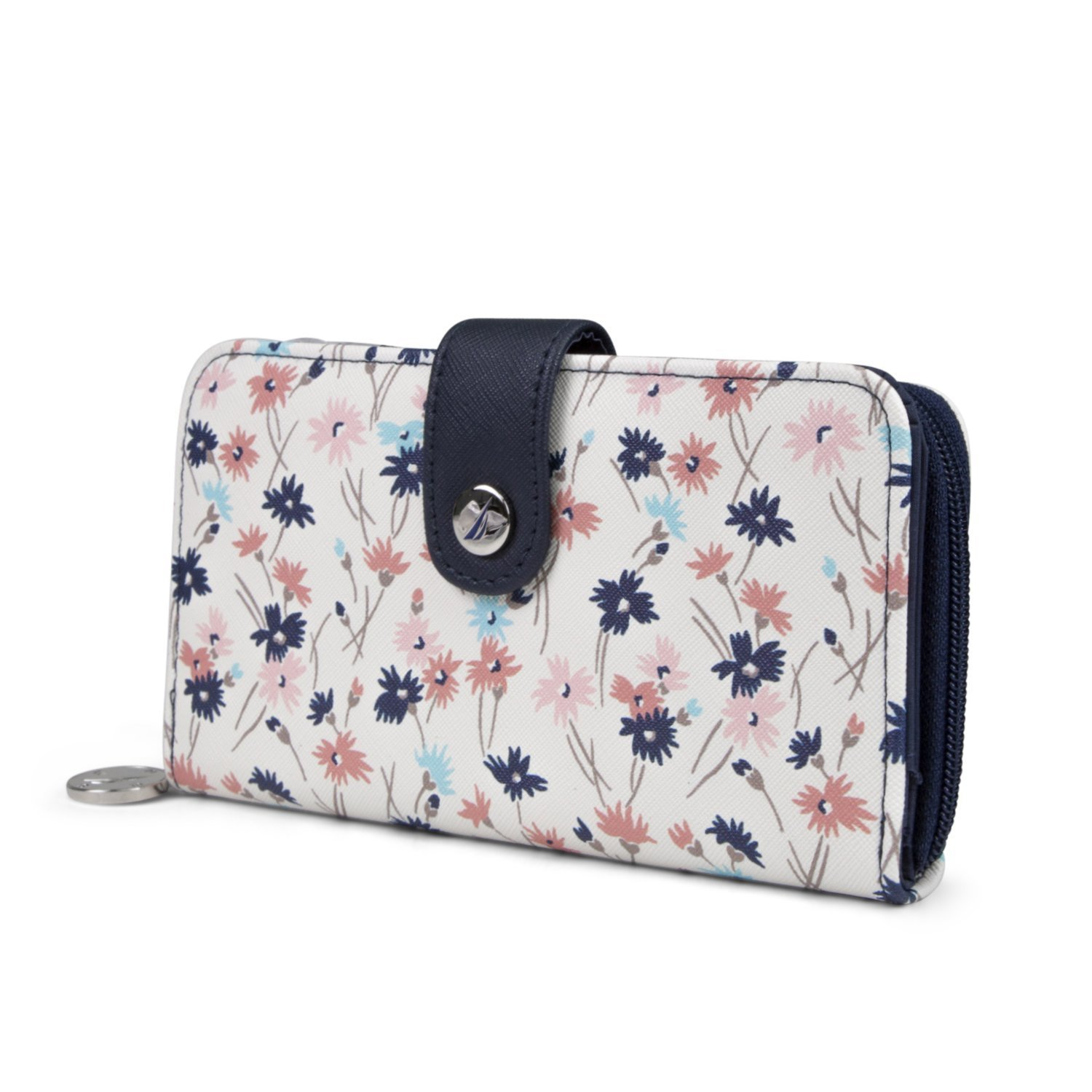 Nautica Be Shore Womens Wallet RFID Blocking Zip Around Clutch (Ditzy Floral)
