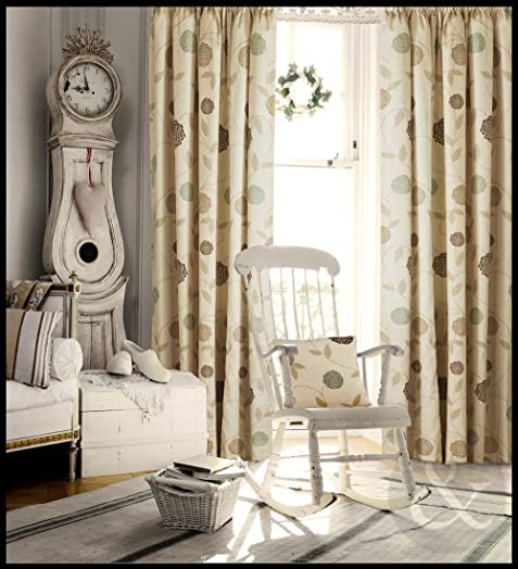 FLORAL PENCIL PLEAT Curtains Living Room Bedroom Ready Made Fully Lined  Curtain Natural ( Cream Brown Part 98