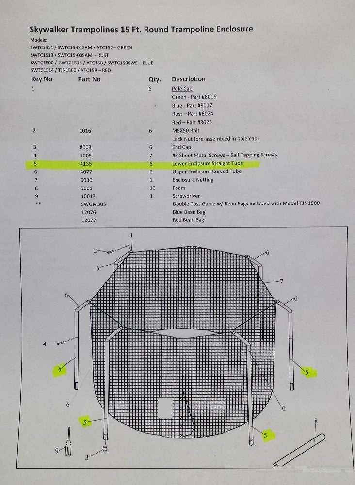 Skywalker Trampoline 15' Round Replacement Enclosure Part, Straight Tube by Skywalker (Image #4)