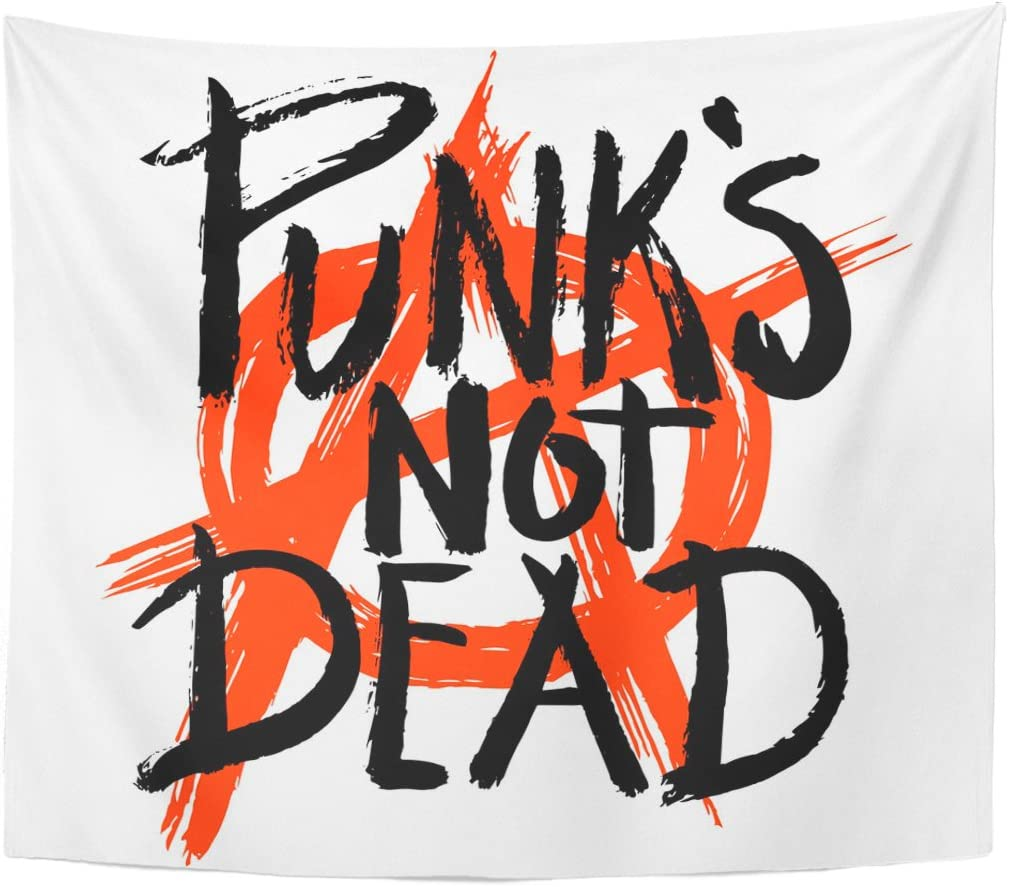 Emvency Tapestry Rock Sketch Punks Not Dead and Anarchy Symbol Label Home Decor Wall Hanging for Living Room Bedroom Dorm 50x60 Inches