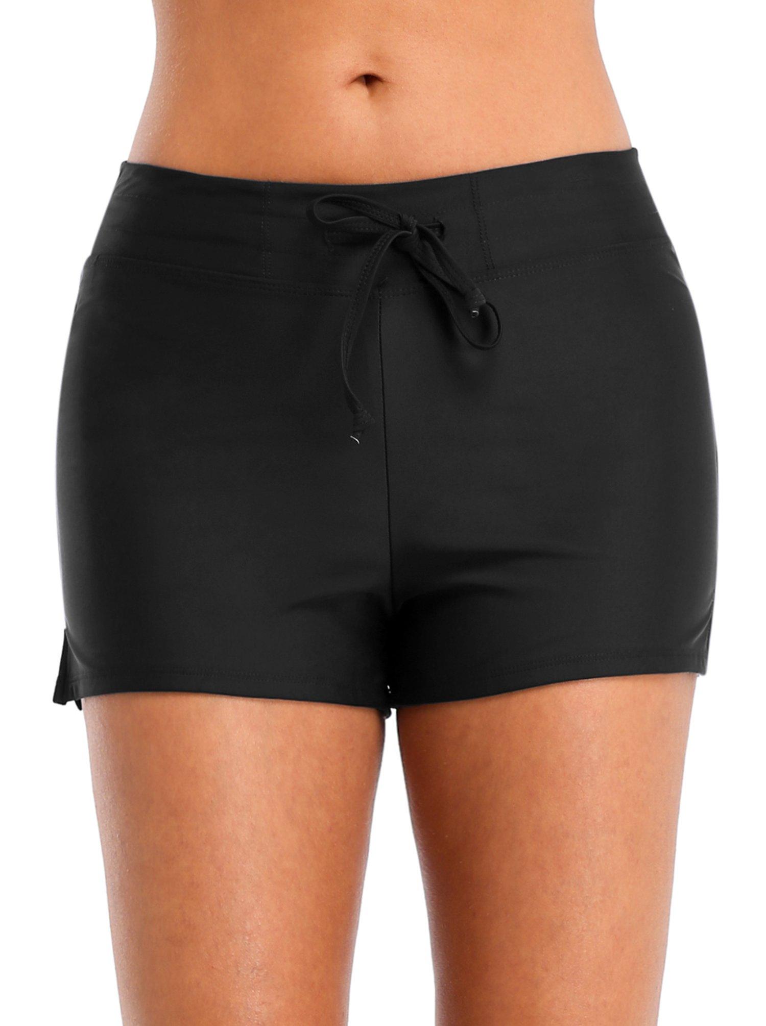Vegatos Womens Solid Boardshorts Swimming Shorts Swim Bottoms Surfing Boyshorts Black