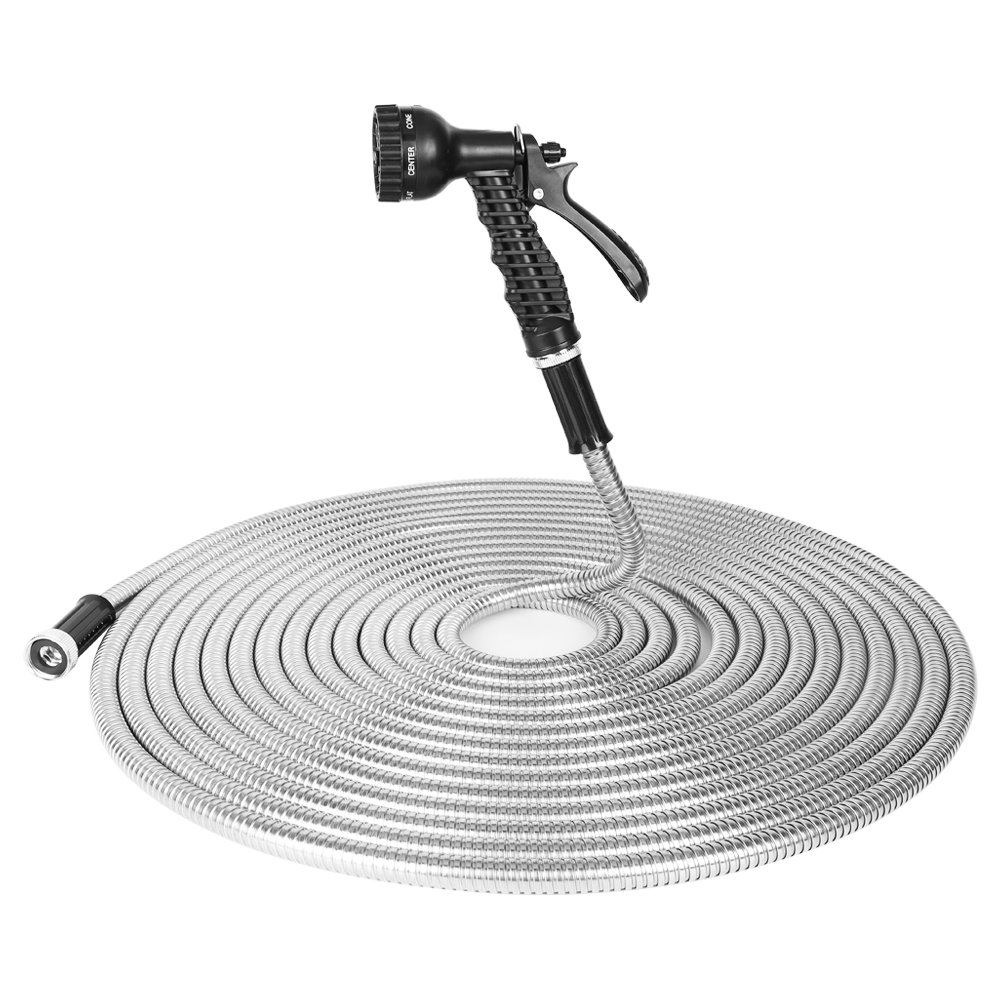 BOSNELL Garden Hose 50FT, 304 Stainless Steel Hose with 2 Free Nozzles, Lightweight, Ultra Flexible and Tangle Free, Cool to Touch, Tough and Durable