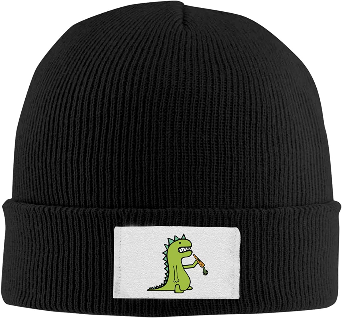 ASDGEGASFAS Unisex Hungry Dinosaur Skull Cap Knit Wool Beanie Hat Stretchy Solid Daily Wear