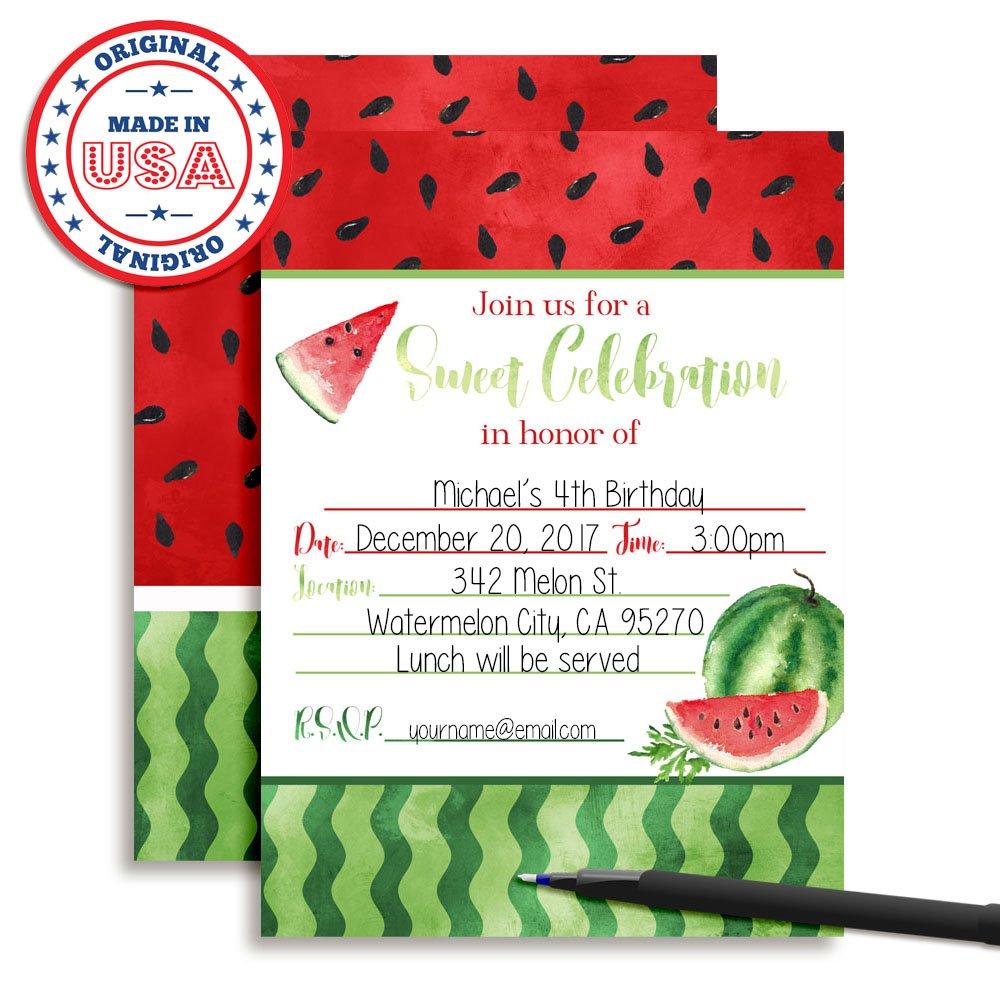 Amazon.com: Amanda Creation Watercolor Watermelon Birthday Party ...