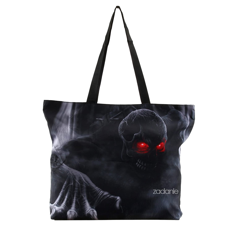 5aa693433c Amazon.com  Black Zippered Pattern Prints Soft Handbag Tote Shoulder Bag  Shopping Beach Lady Purse Bags  Clothing