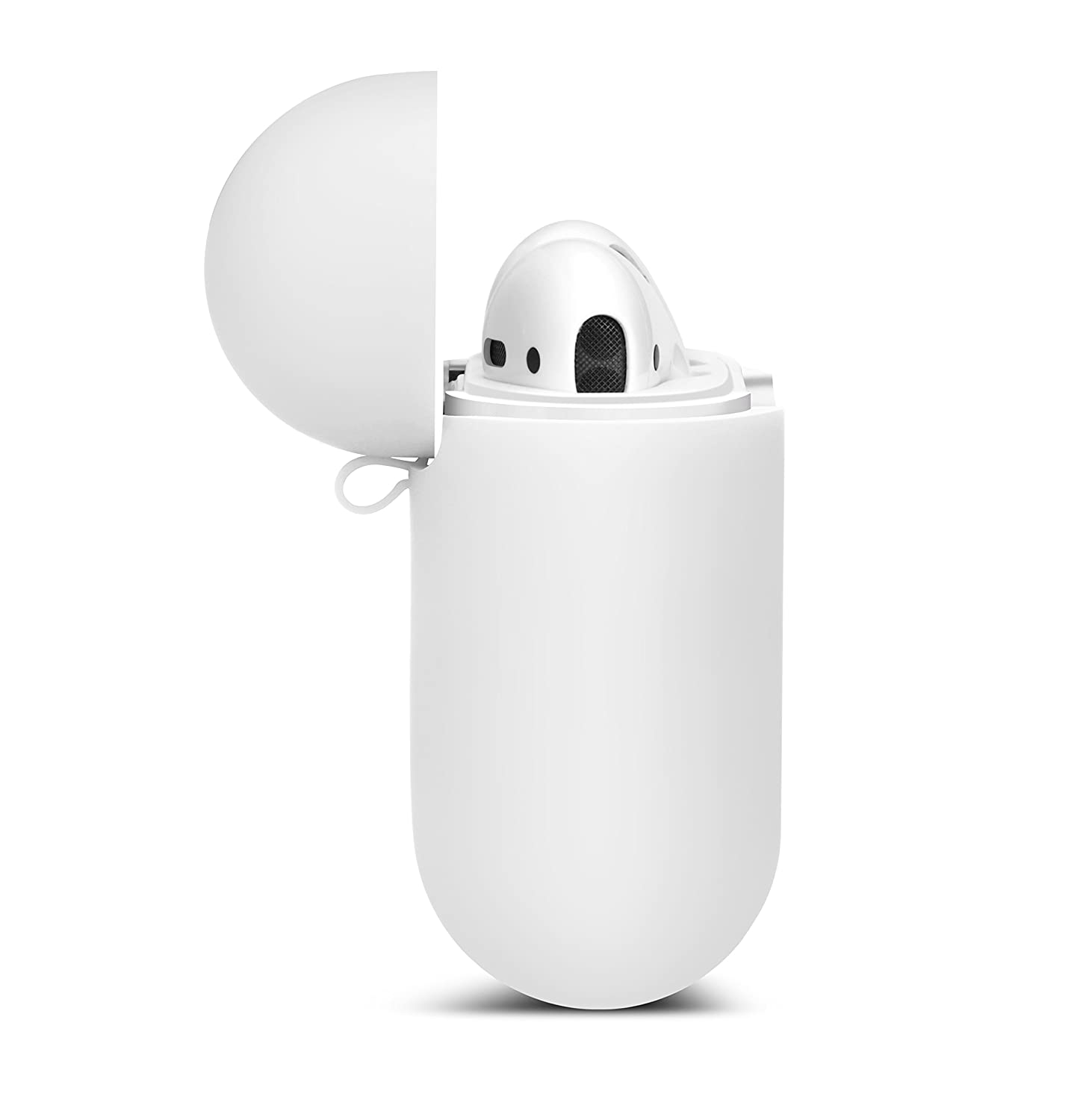 White AirPods Case with Strap Protective Silicone Cover with ...