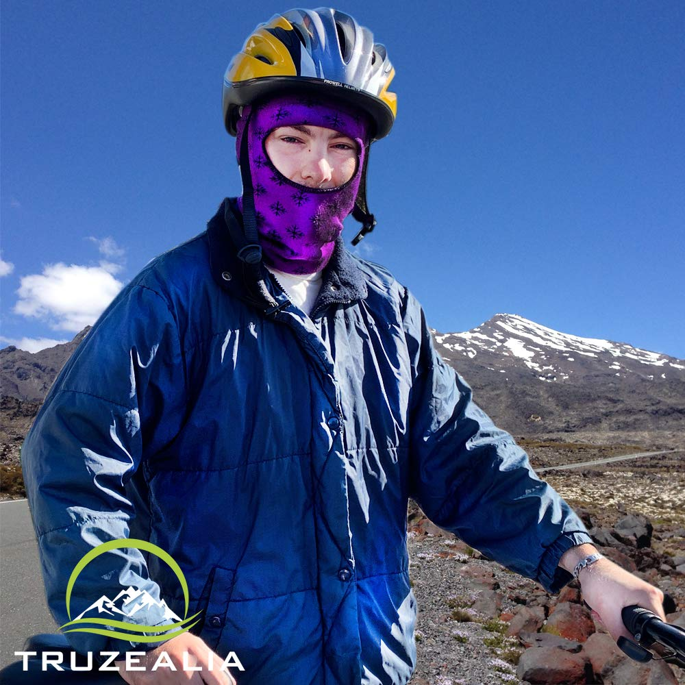 Balaclava Outdoor Wear Hat Cap Unisex New Zealand Made Merino Wool Luxurious Warmth and Soft with a Light Weight Stretchy Face Mask Stylish Unique Moisture Wicking with Thermal Properties Purple by Truzealia (Image #5)