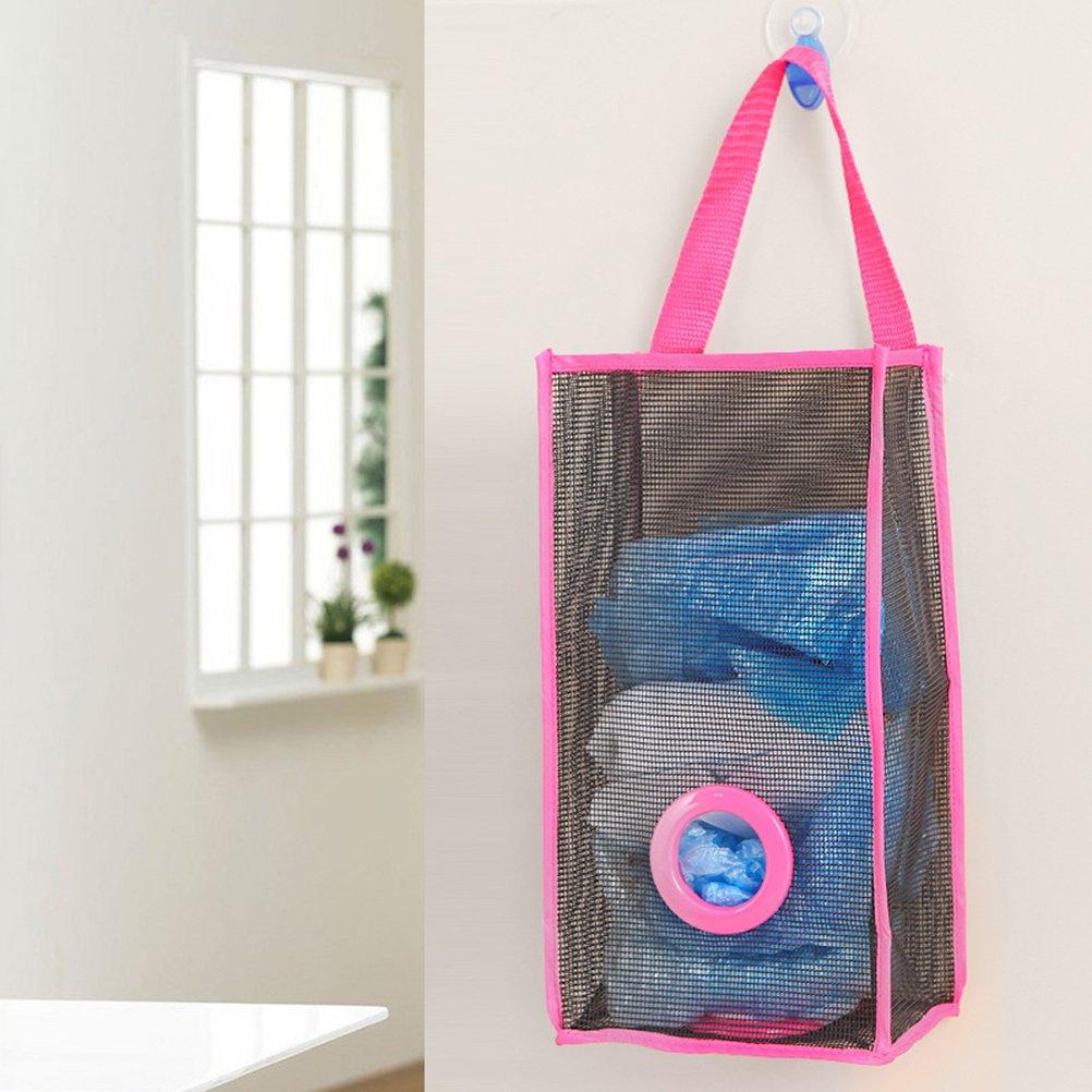 OUNONA Dispensador de bolsas de basura de malla colgante Organizador plegable Bolsas de basura Titular Bolsa de supermercado Recipientes de reciclaje ...