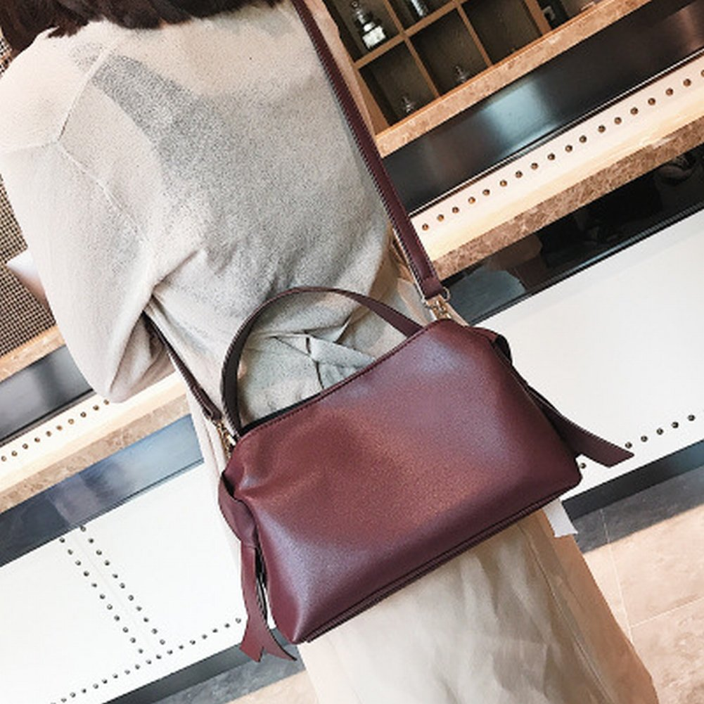 Handtasche Weibliche Einfache Messenger Bag Weiblichen Retro-Bogen Schulter Mode Handtaschen , Weinrot
