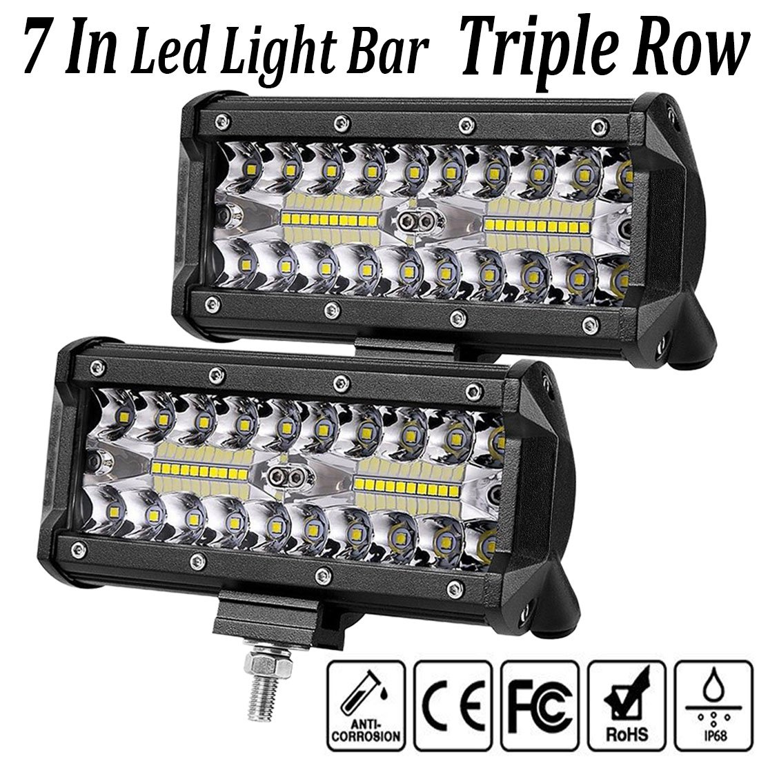 LED Light Bar,7 Inch 2PCS LED Flood Light Pods Work Light Bar LED Pod Lights Spot Beam Driving Fog Lights Triple Row Cubes Lights for Jeep Off-road Truck Boat