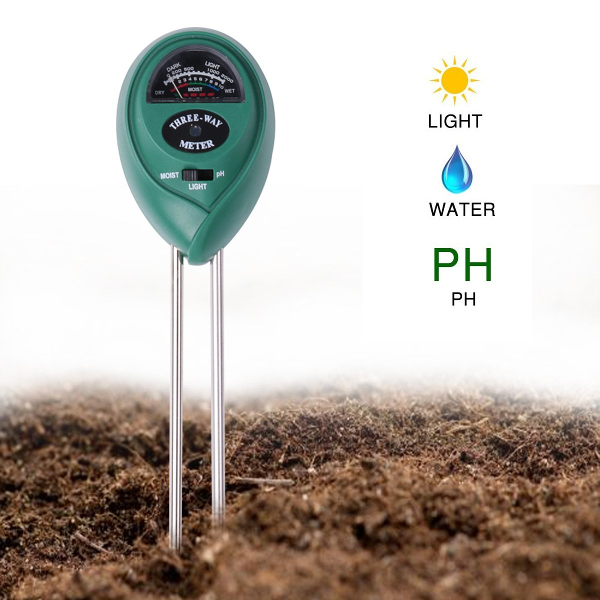 CHICTRY Soil Moisture Meter Soil pH Meter Light and PH Acidity Tester 3 in 1 Soil Tester with Accurate Probe for Indoor Outdoor Garden Farm Lawn (No Battery Needed)
