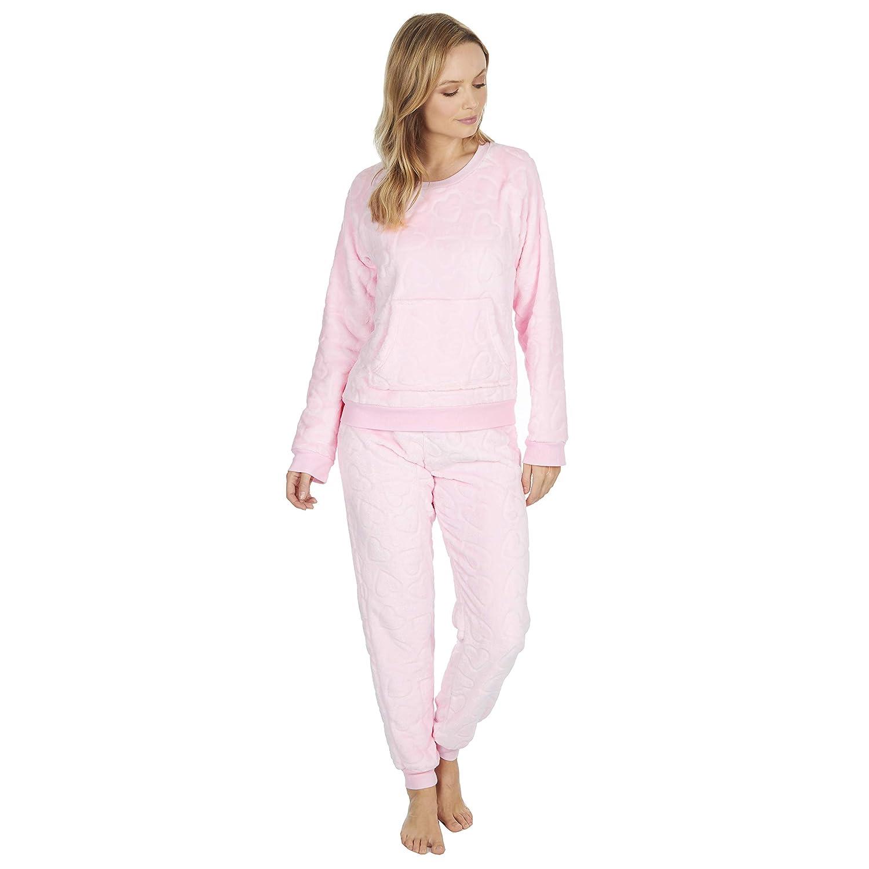 Ladies Fleece Pyjamas Loungewear Womens Pajamas Twosie Grey Cable Winter Warm
