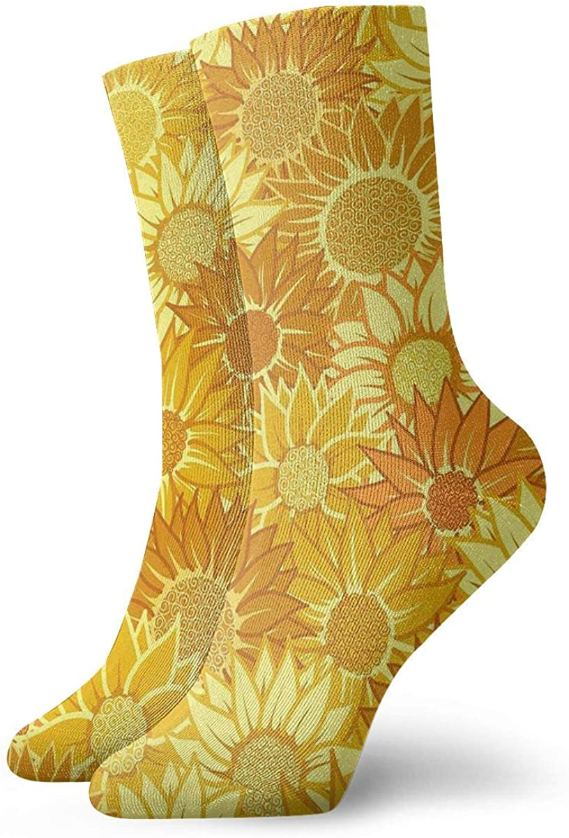Unisex High Ankle Cushion Crew Socks Sunflower Watercolor Casual Sport Socks