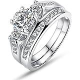 Placcato oro bianco Wostu fitnessexpress-anelli per lei e per lui con Micro AAA zircone asfaltate KubiK matrimonio fidanzamento compleanno Gioielli