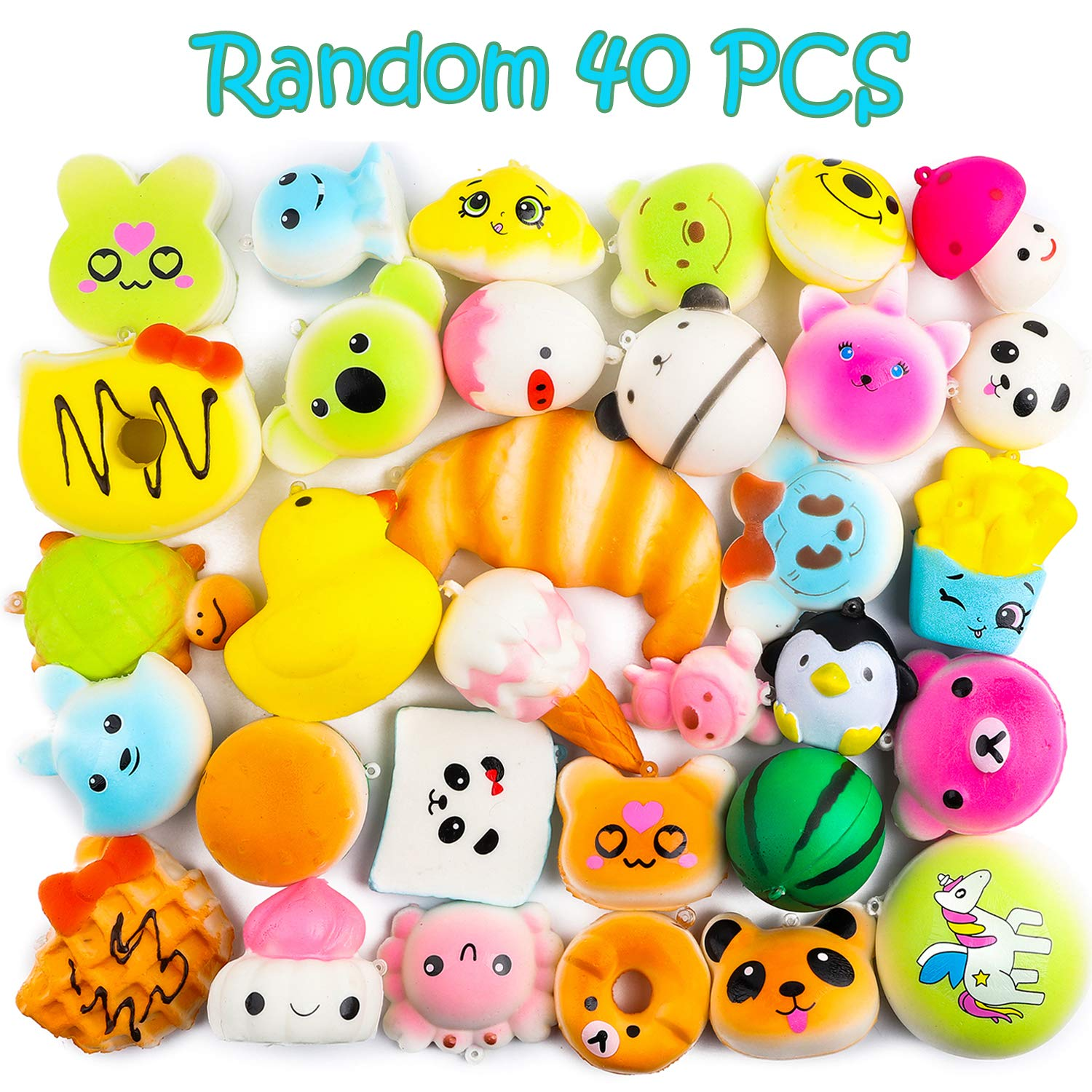 BeYumi Random 42 PCS Mini Squishy Toys 40 Kawaii Food Squishy 2 Animal Squishy Soft Cream Scented Slow Rising Squeeze Toys, Phone Straps for Kids Adults Party Favor by BeYumi (Image #2)