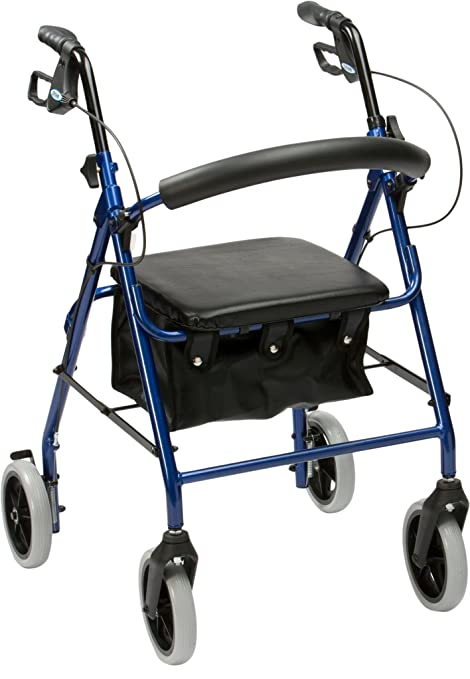 Drive Medical R6BL-23 - Andador de aluminio con ruedas, color azul