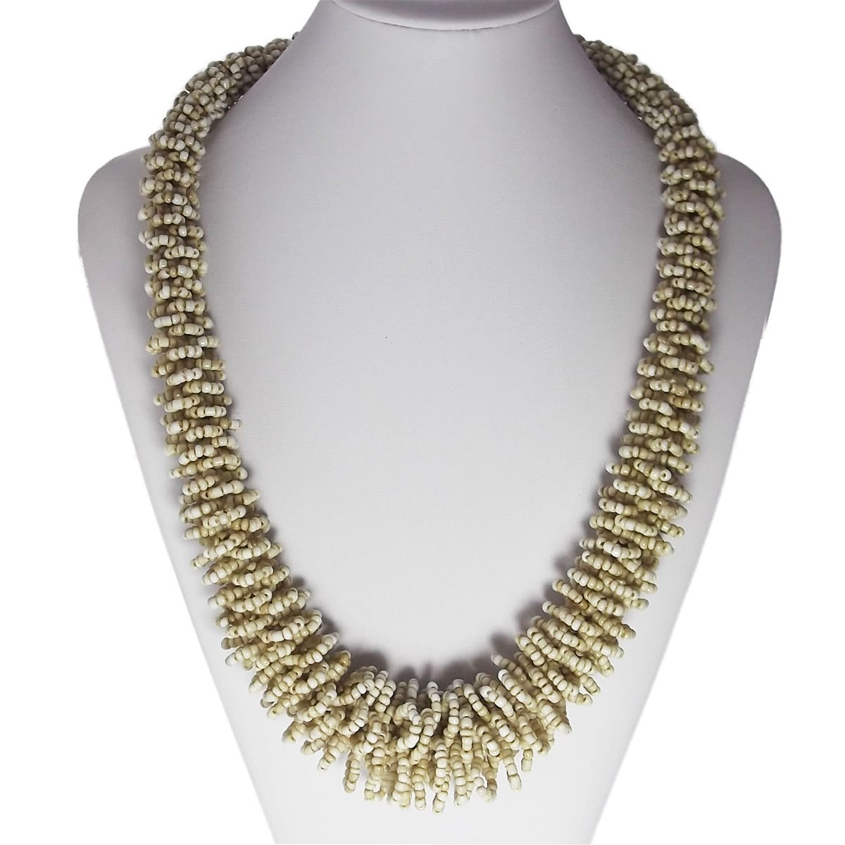 Ice Bijoux Statement Beads Necklaces for Women Long - Cream 25 inches - Jewelry London Collection