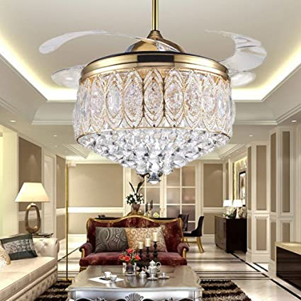 RS Lighting Simple Modern Artistic 42 Inch Crystal Light Kit Ceiling Fan With Remote