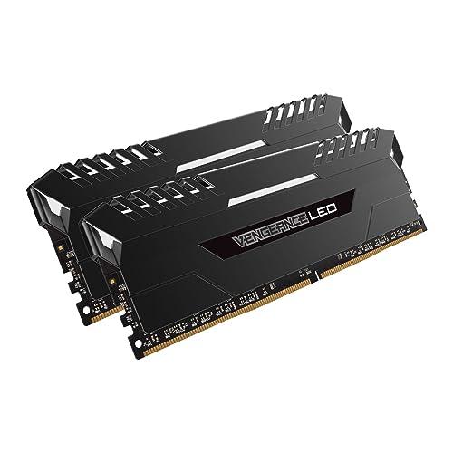 Corsair Vengeance LED Kit de Memoria Entusiasta de 32 GB 2 x 16 GB DDR4 2666 MHz C16 XMP 2 0 Negro con Blanco LED iluminación