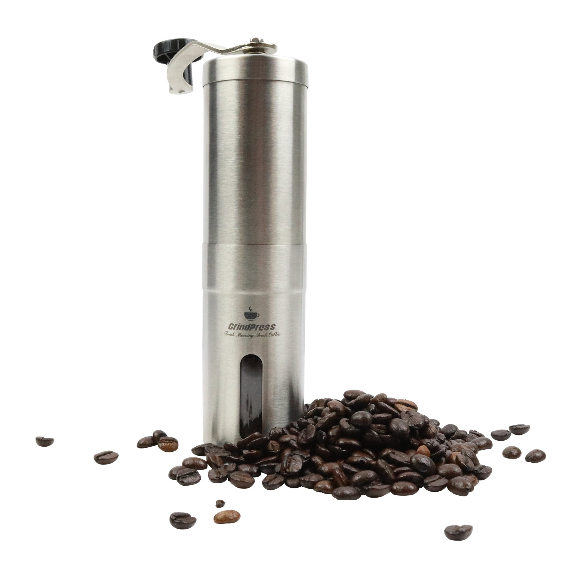 GrindPress Premium Manual Brushed Stainless Steel Coffee Grinder, Conical Burr Mill