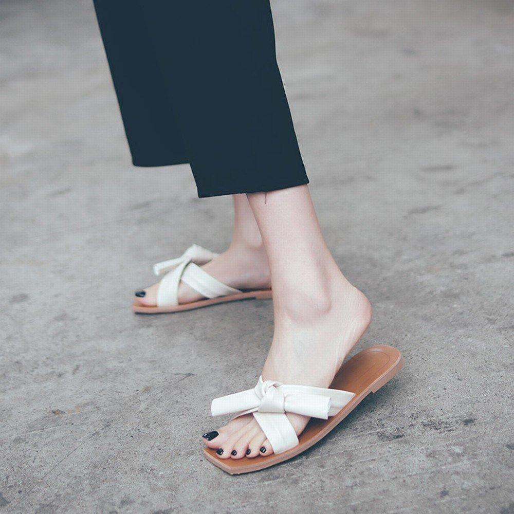 DIDIDD Sommer Flache Schuhe der Sandelholze Sandelholze Sandelholze Beschuht Bogenfreizeit Faule Weiche Strandschuhe Tragenpantoffel Nicht-Gerade Weiss 37 5a07fc