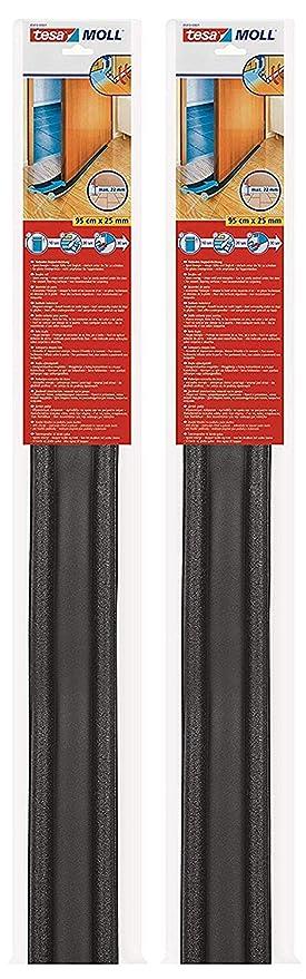 2 St/ück // 95 cm x 25 mm tesamoll Zugluftstopper f/ür Glatte B/öden in Grau//Zuschneidbare T/ürbodendichtung f/ür Schutz vor Zug und L/ärm