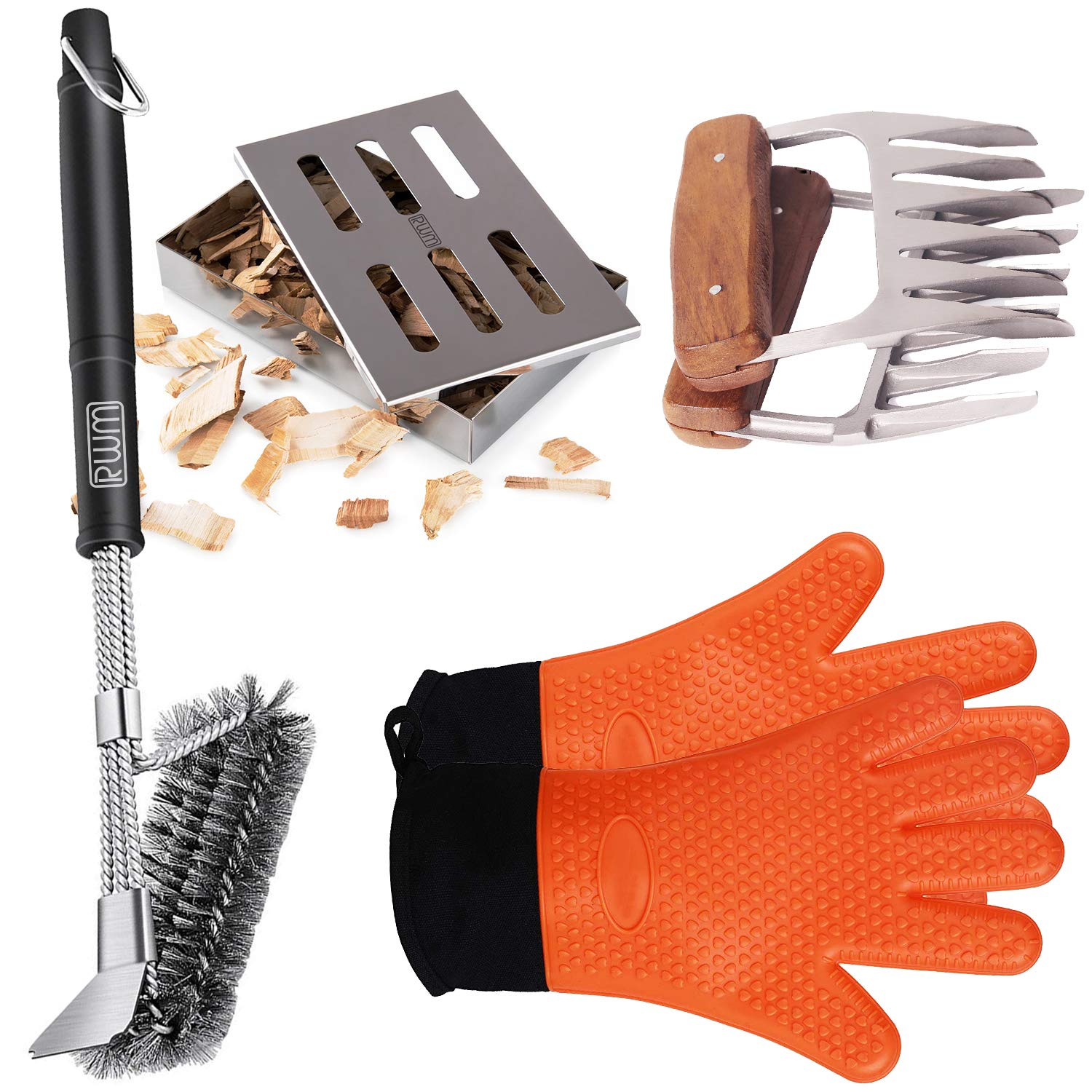 RWM Metal Meat Claws/Smoker Box/Grill Glove and Cleaning Brush Scraper Superior Value Premium Set (4pcs Set) by RWM