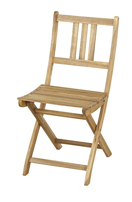 Amazon Com Azumaya Natural Acacia Wooden Folding Chair 2pcs Set