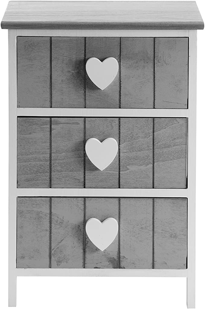 Wedestock Meuble en Bois 3 tiroirs c/érus/é Blanc et poign/ée en m/étal avec Corde 40x29x58cm