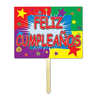 Feliz Cumpleanos Yard Sign Party Accessory (1 count): Kitchen & Dining