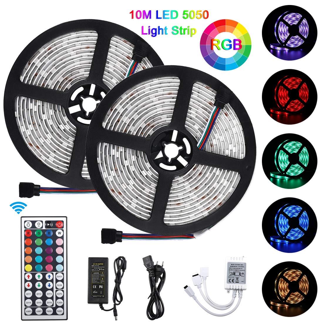 Bonve Pet Tiras LED 10m 5050 RGB, Tiras de Luces LED Iluminación con 300 Leds 12V SMD, Impermeable IP65, Adaptador de Alimentación 3A, Control Remoto de 24 Claves, Receptor product image