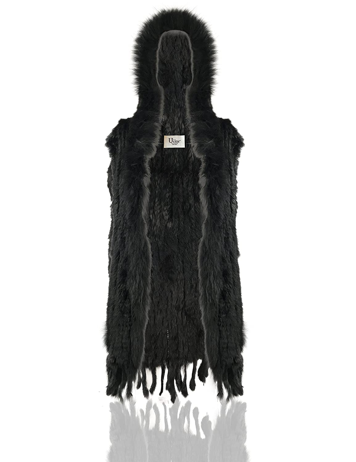 Uilor Women's 100% Natural Knit Rabbit Fur Vest 27018