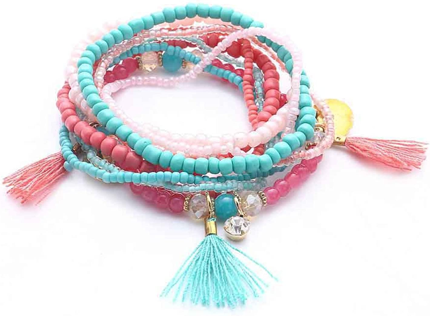 Green Bead  Multi layer wrap Around Bracelet with Tassel /& Charms
