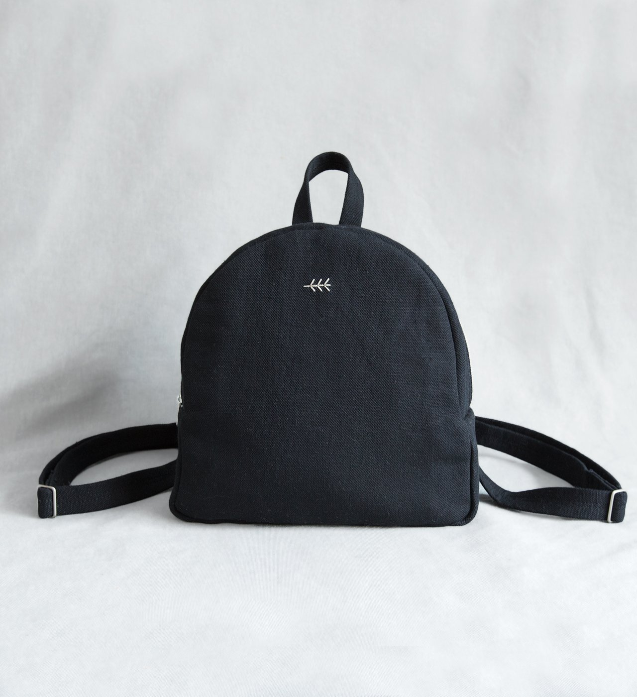 Backpack linen black small backpack canvas linen textile embroidered hand embroidery women's backpack twig organic bag mini backpack