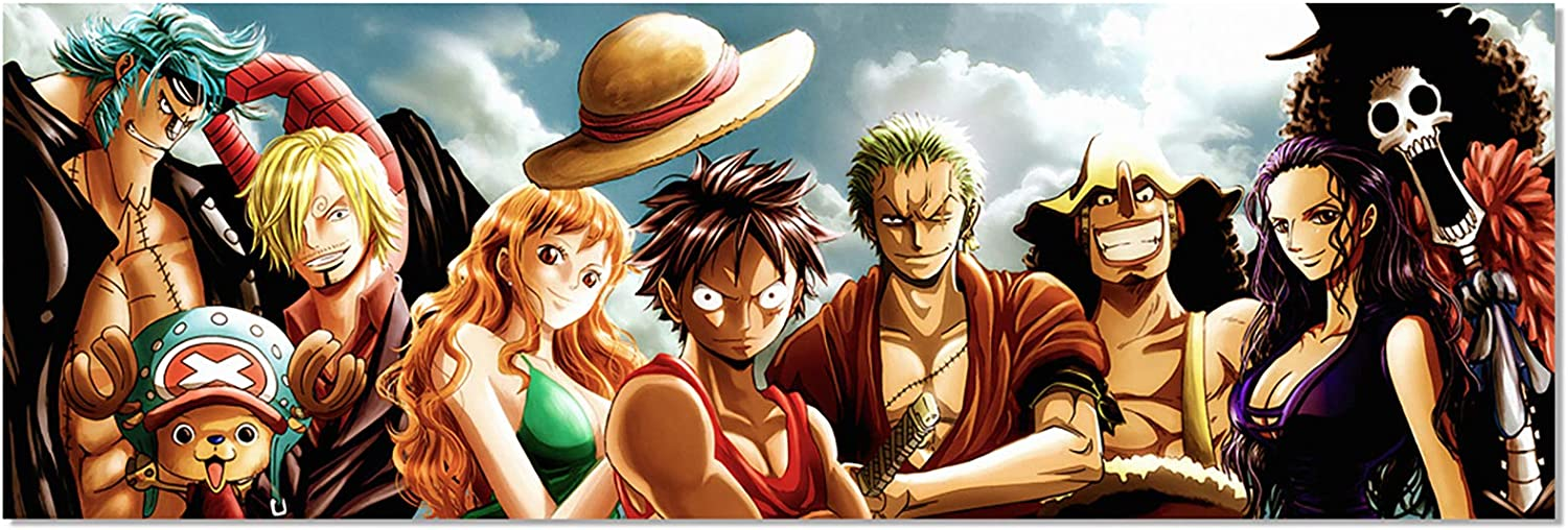 Anime One Piece The Straw Hat Pirates Poster Luffy Zoro Nami HD Print on Canvas Painting Wall Art for Living Room Decor Boy Gift (Unframed, 20x60inch)