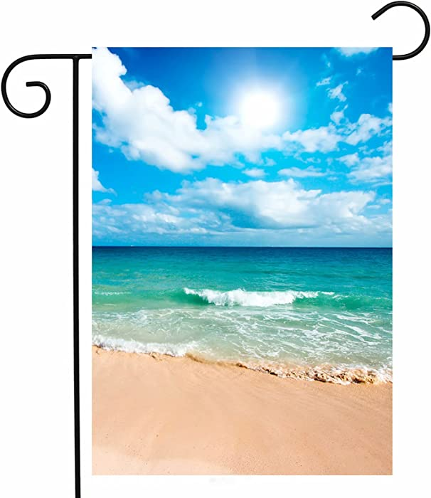"ShineSnow Summer Beach Ocean Garden Yard Flag 12""x 18"" Double Sided, Tropical Mexican Yucatan Caribbean Sunlight Waves Sea Polyester Welcome House Flag Banners for Patio Lawn Outdoor Home Decor"