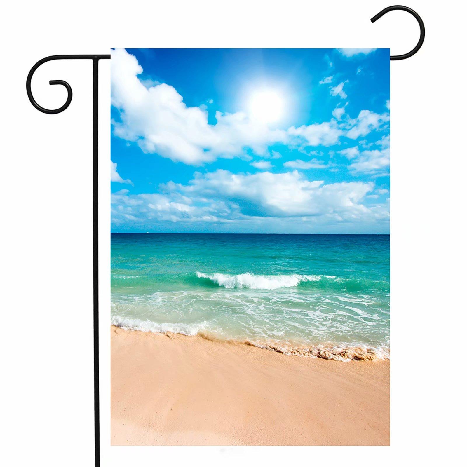 ShineSnow Summer Beach Ocean Garden Yard Flag 12''x 18'' Double Sided, Tropical Mexican Yucatan Caribbean Sunlight Waves Sea Polyester Welcome House Flag Banners for Patio Lawn Outdoor Home Decor