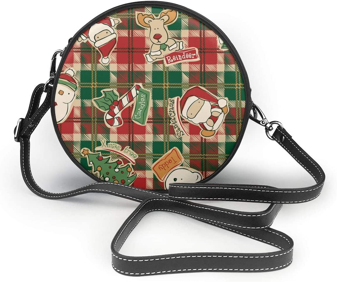 Womens Round Crossbody Bag Funny-Christmas-Elements Tartan Crossbody Wallet PU Leather Zipper Shoulder Bag