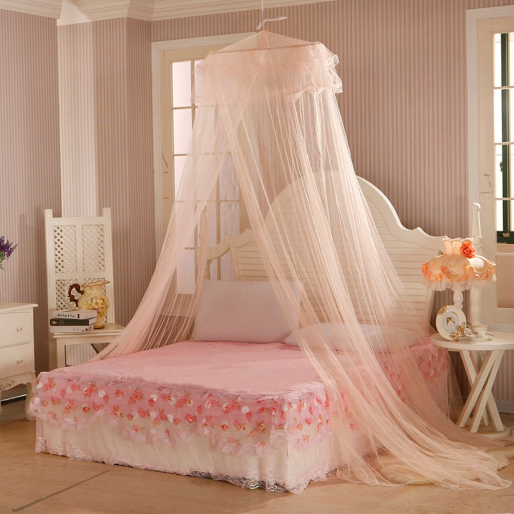 DE&QW European Children Pink Mosquito Net, Bedroom Dome Ceiling Round Princess Girl Bed Canopies Mosquito Curtain-A Full-size