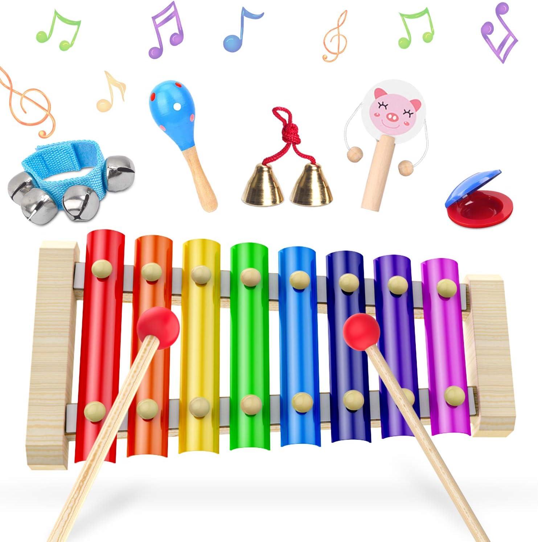 Xilofono, Xilofono Infantil, XilofonoBebe Glockenspiel, Percussion Drums 6 Pieces Set, 23.5 x 12 x 2.5 cm, Juguetes De Madera Xilofono Instrumento Musical,Perfect For Little Musicians